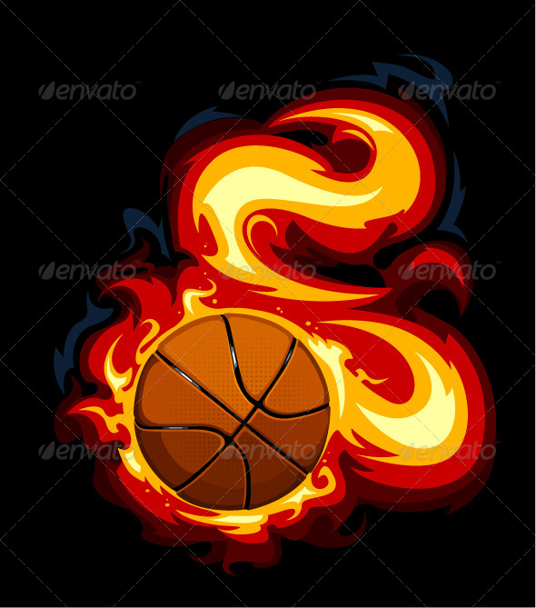Burning Basketball  - Vectors