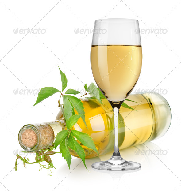 White wine glass and bottle - Stock Photo - Images