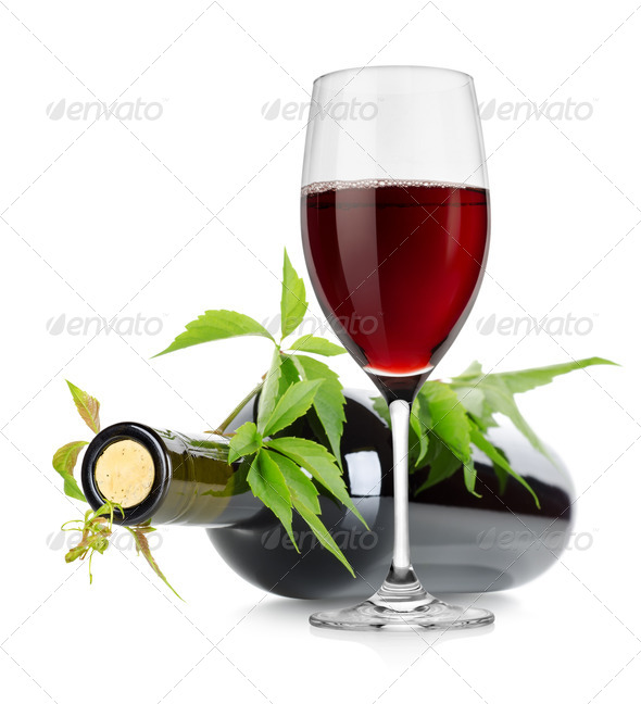 Wineglass and wine bottle - Stock Photo - Images