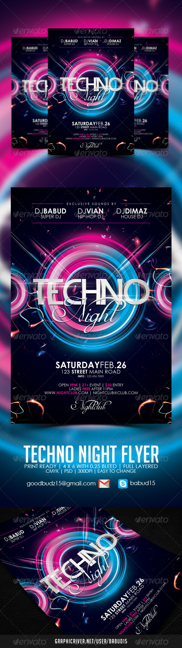 Techno Night Flyer Template - Events Flyers