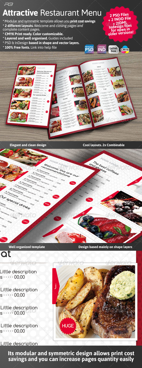 Attractive Menu Template - Food Menus Print Templates
