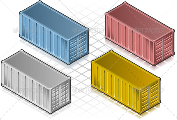 Isometric Container in Various Colors - Objects Vectors