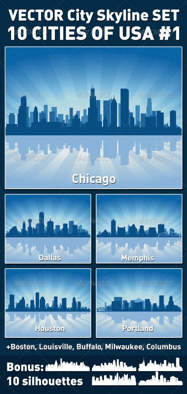 Vector City Skyline Set. USA #1 - Buildings Objects