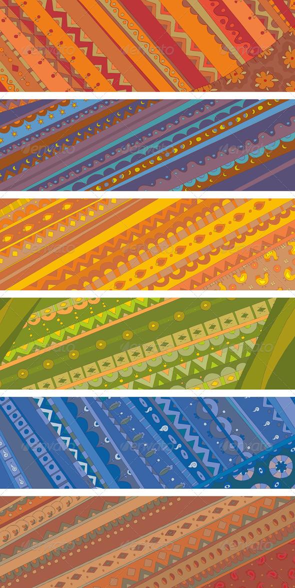 Ethnic Ornamental Banners Set - Decorative Vectors