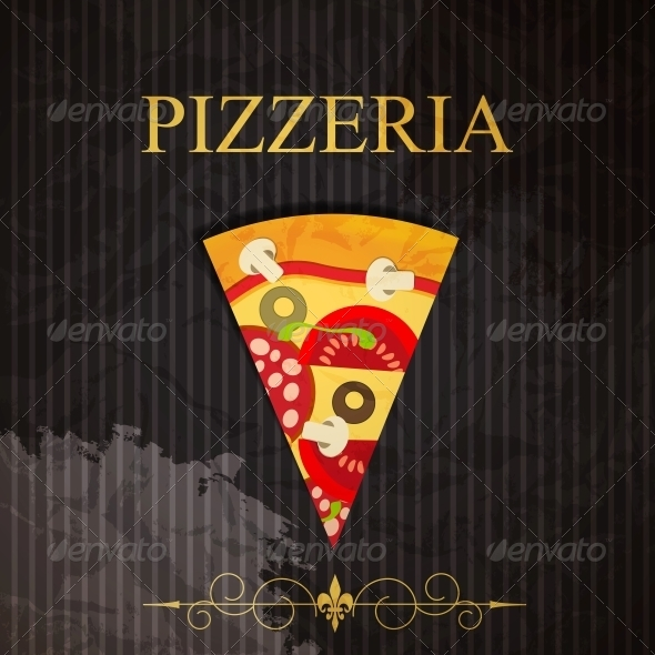 Pizza Menu Template, Vector Illustration - Food Objects