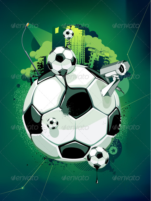 Soccer Balls and Urban Elements - Vectors