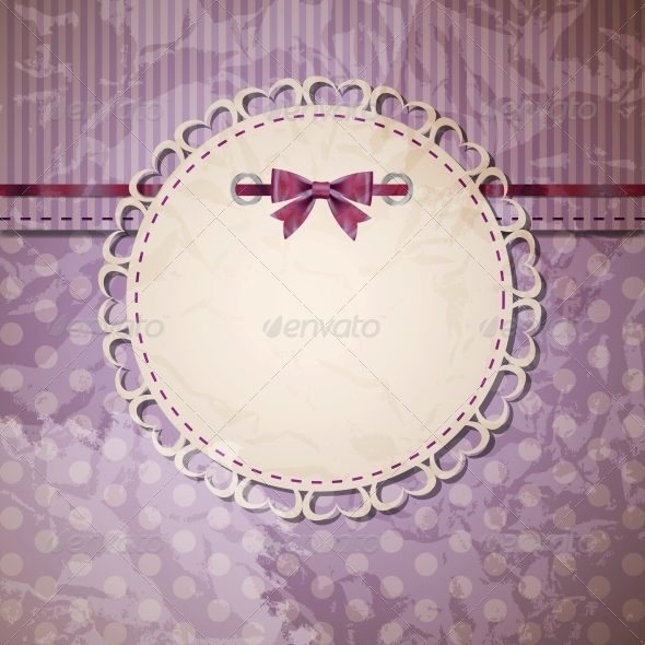 Vintage Frame with Bow Vector Illustration - Miscellaneous Vectors