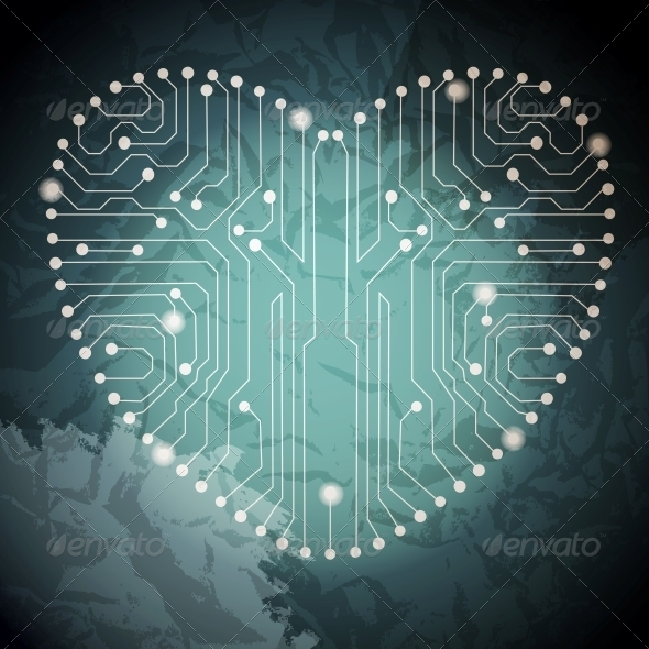 Circuit Board with in Heart Shape Pattern - Miscellaneous Vectors