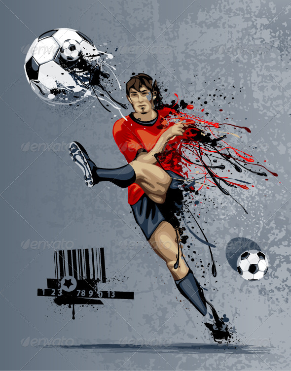 Abstract Soccer Player - Vectors