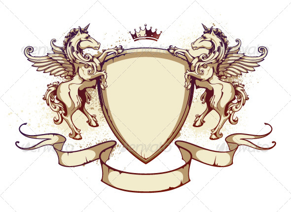 Vintage Horse on Shield - Vectors