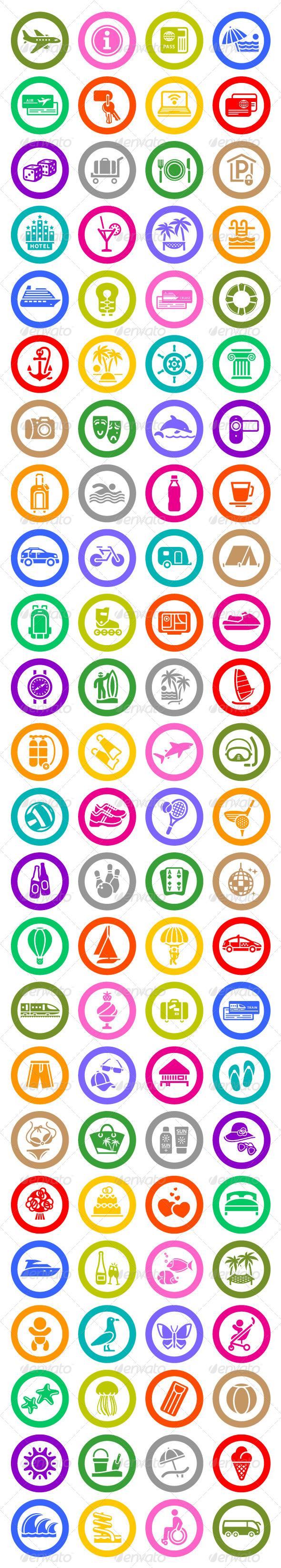96 pcs. Vacation Icons. Travel Symbols - Icons