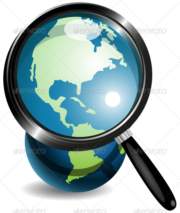 Globe Under Magnifying Glass - Communications Technology