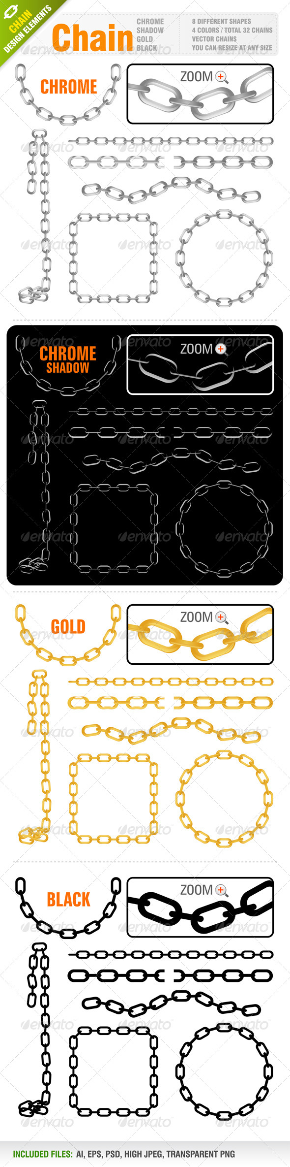 Chain Vector Set - Borders Decorative