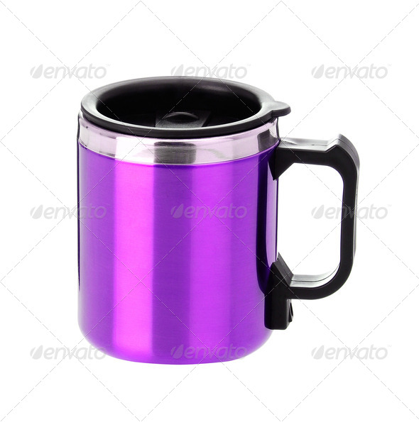 thermos mug with black handle - Stock Photo - Images