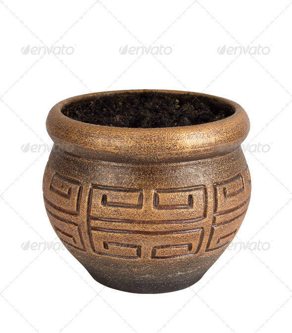 clay flower pot over white background - Stock Photo - Images