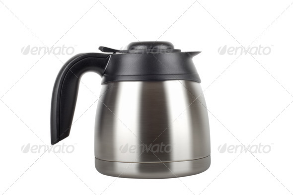 stainless electric kettle isolated on white - Stock Photo - Images