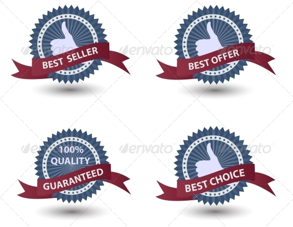 Vector Label with Red Ribbon. - Miscellaneous Vectors