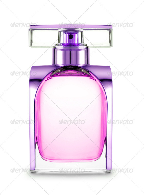 women's perfume in beautiful bottle isolated - Stock Photo - Images