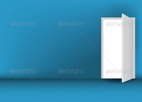 Open White Door on a Green Wall  - Miscellaneous Vectors