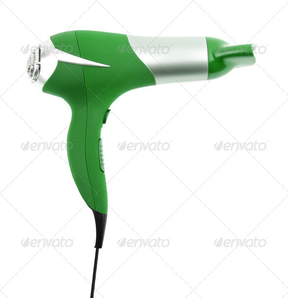 Fashion hair dryer isolated on white - Stock Photo - Images