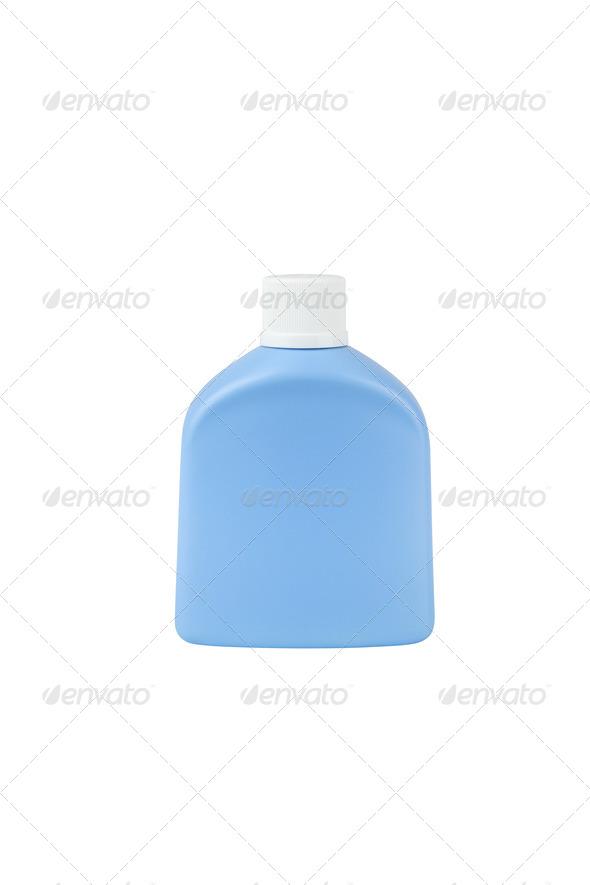 Blue cosmetic bottle isolated on white background - Stock Photo - Images