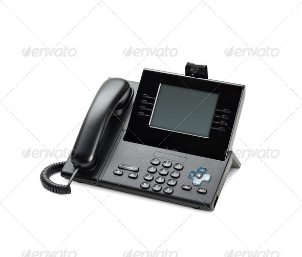 Office IP telephone set with LCD display isolated on white - Stock Photo - Images
