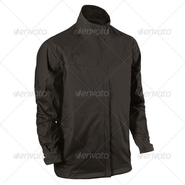 black leather jacket isolated on white background - Stock Photo - Images
