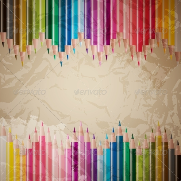 Vector Set of Colored Pencils - Backgrounds Decorative