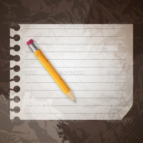 Pencil on a Blank Notepad - Miscellaneous Vectors