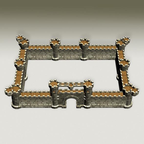Castle Wall - 3DOcean Item for Sale