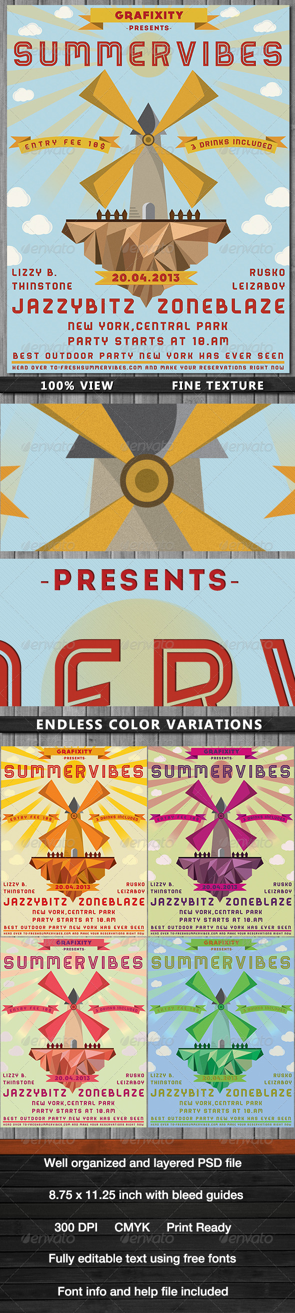 SummerVibes-Retro Summer Poster/Flyer - Flyers Print Templates