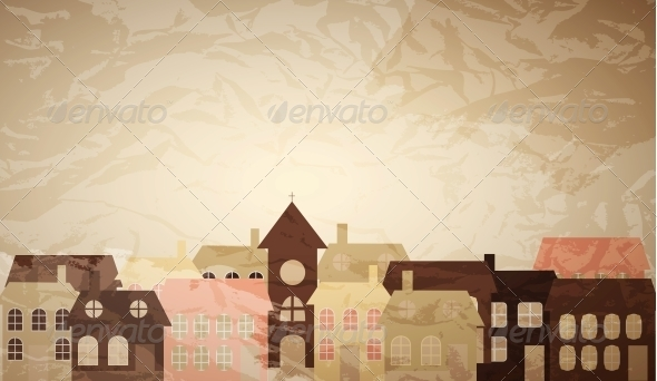 Card with a Little Town - Miscellaneous Vectors