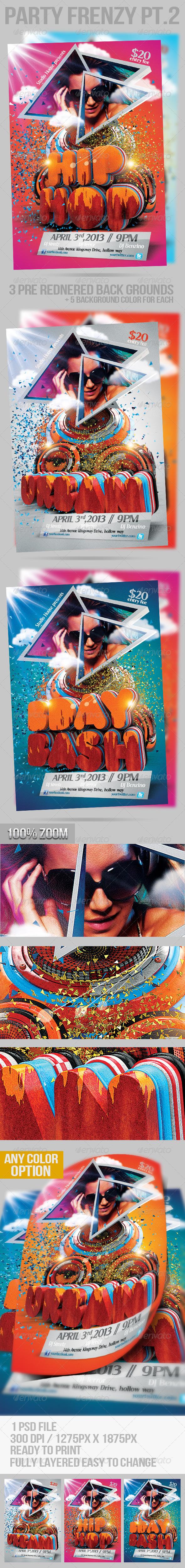 Birthday Bash Party Frenzy flyers Pt. 2 - Flyers Print Templates
