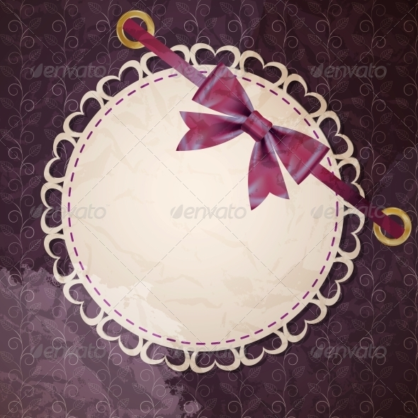 Vector Greeting Card with Frame and Bow - Miscellaneous Vectors