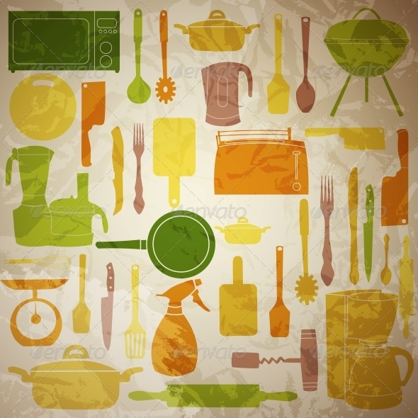 Vector Illustration of Kitchen Tools for Cooking - Miscellaneous Vectors
