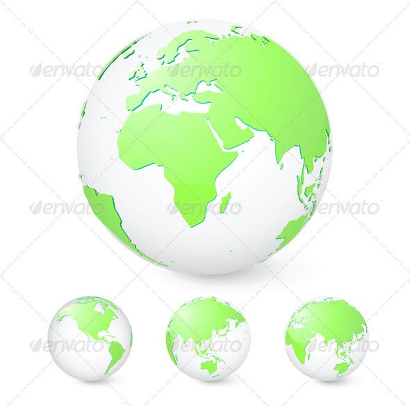 Green Globes Set - Conceptual Vectors