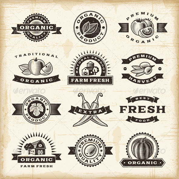Vintage Organic Harvest Stamps Set - Decorative Symbols Decorative
