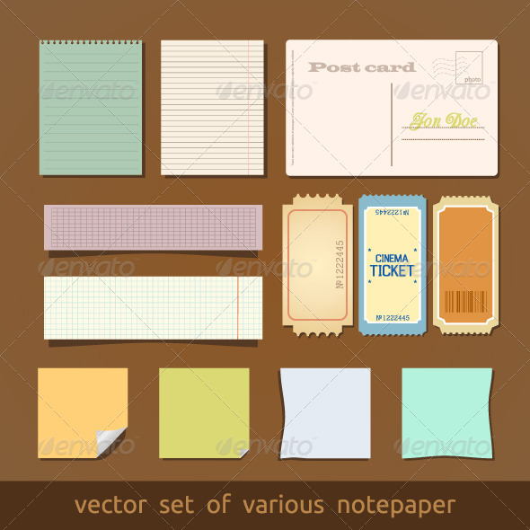 Collection of Various Notes Paper and Post Card - Decorative Symbols Decorative