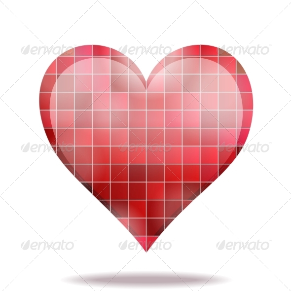 Abstract Scarlet Mosaic 3D Heart Icon - Decorative Symbols Decorative