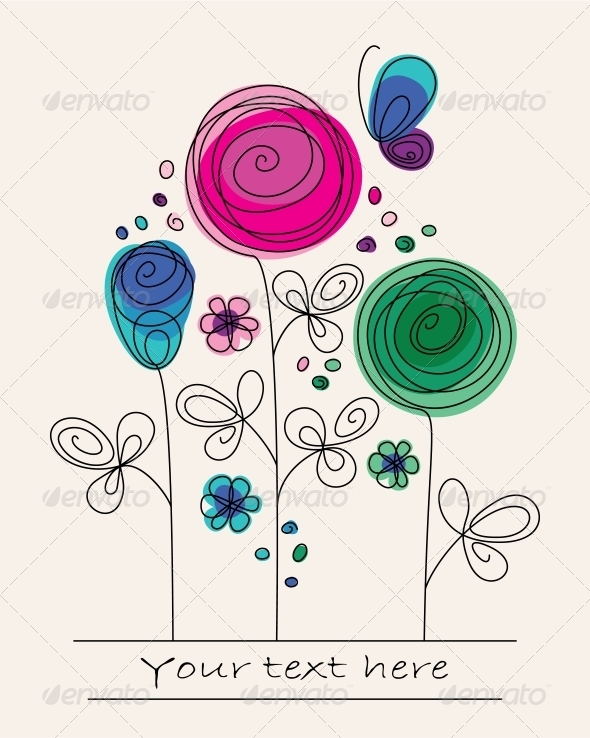 Background with Abstract Flowers - Miscellaneous Seasons/Holidays