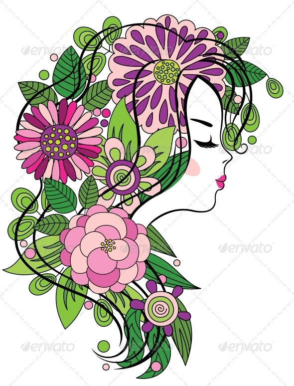Girl with Flowered Hair - People Characters