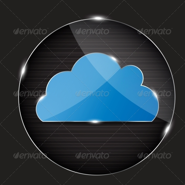 Vector Glass Button with Cloud Icon - Miscellaneous Vectors