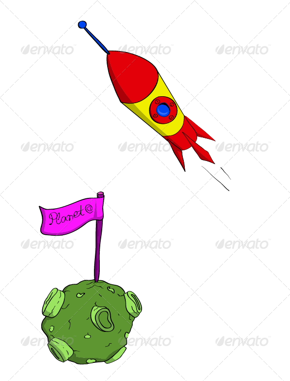 Rocket and Planet - Objects Vectors