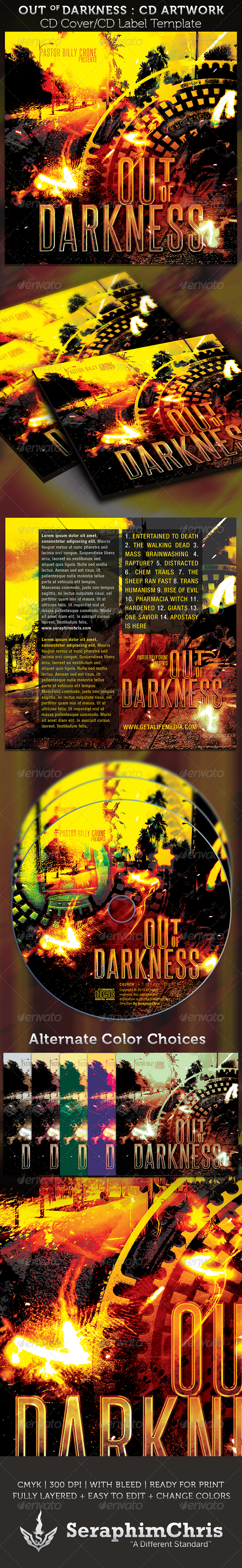Out of Darkness CD Cover Artowork Template - CD & DVD Artwork Print Templates