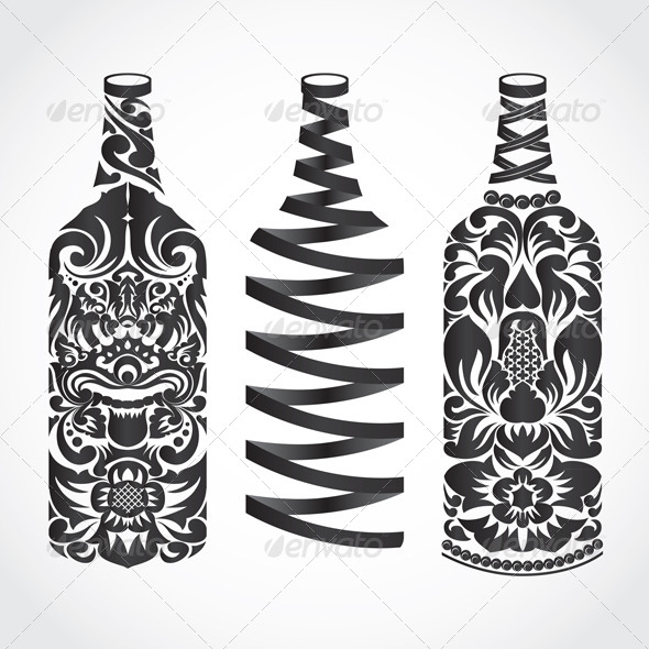 Bottle Ornament - Decorative Symbols Decorative