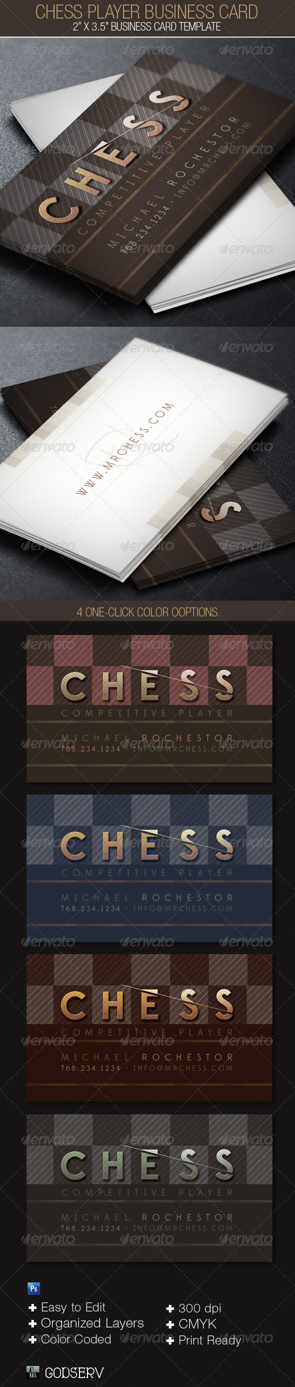 Chess Player Business Card Template - Industry Specific Business Cards