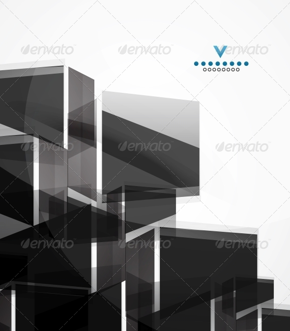 Black Glass Squares Geometric Background - Backgrounds Business