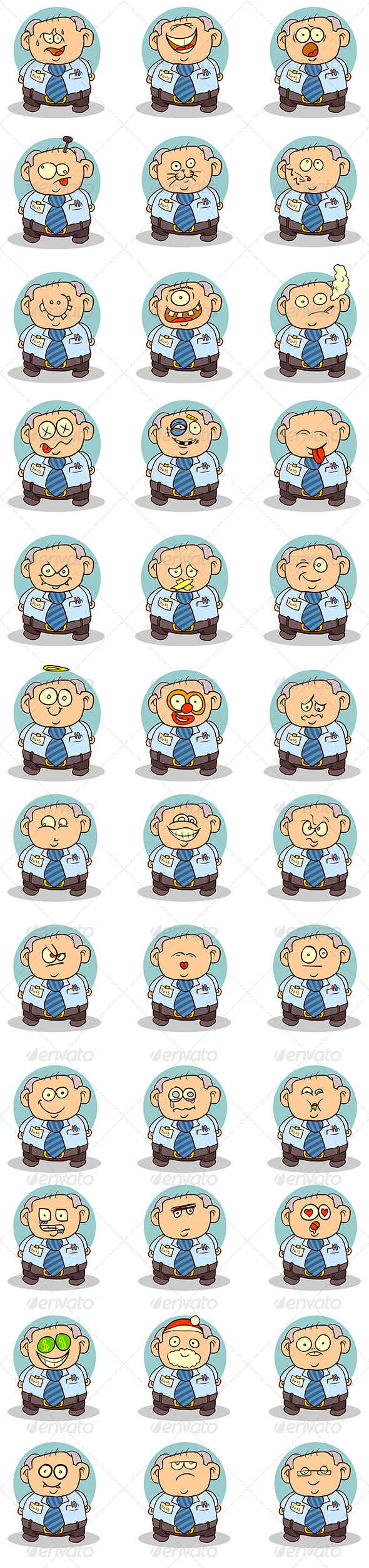 Office Worker Smilie Set - People Characters