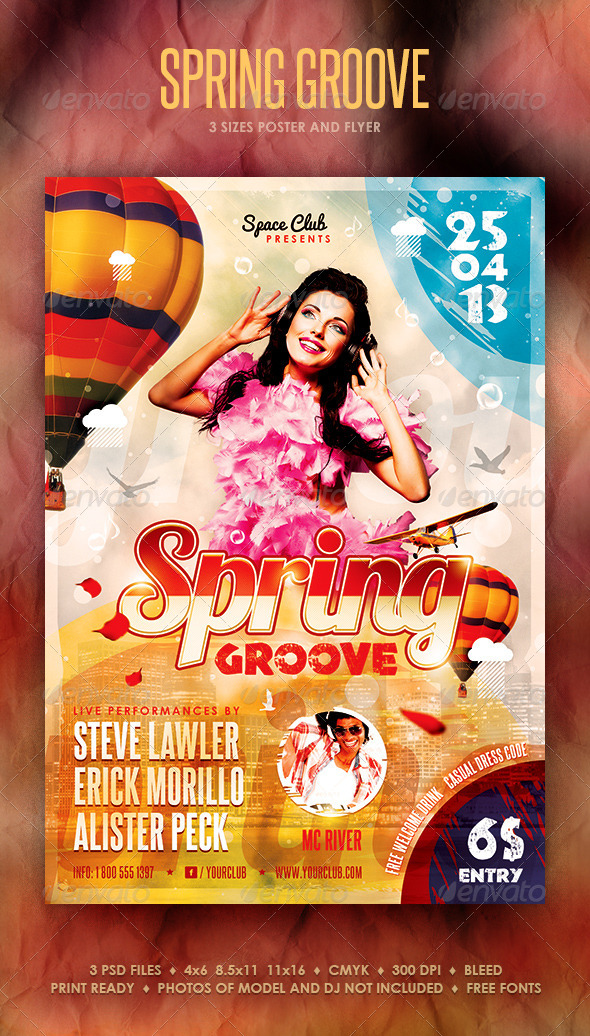 Spring Groove Poster and Flyer - Clubs & Parties Events