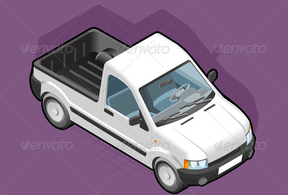 Isometric Pickup White Van - Miscellaneous Vectors